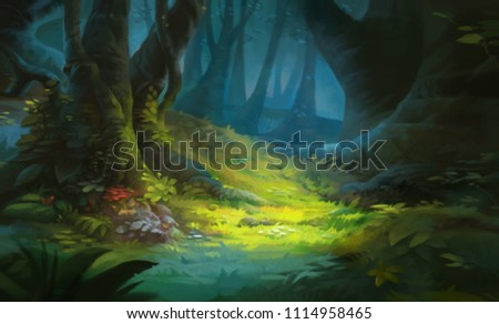 Game Art Fantasy Forest Environment. Digital CG Artwork, Concept Illustration, Realistic Cartoon Style Scene Design