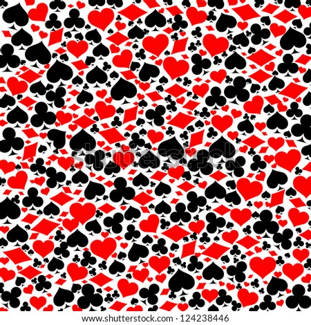 Game card symbols pattern. Background with clover, diamond, heart, pike  Photo stock ©