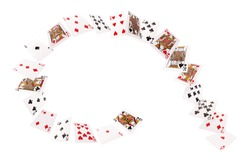 Game cards flying in a spiral. Isolate on white background.
