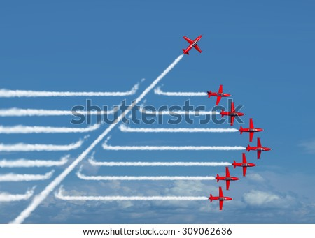 Game changer business or political change concept and disruptive innovation symbol and be an independent thinker with new ideas as an individual jet breaking through a group of airplane smoke.