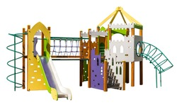 Game complex with slide and  ladders. Equipment for playground. Shadowless isolated on white background
