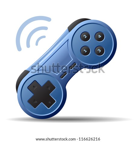 Game controller or game pad isolated on white background