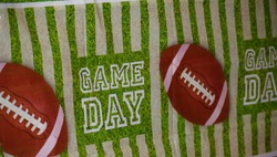 Game Day Football Party Banner with Footballs and a Gridiron Field