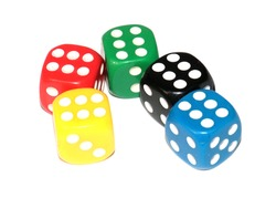 game dice with different combinations when playing in a casino
