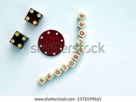 Game Face - Vintage Poker Dice, Poker Chip, and Casino Dice - Smiley Face Design  #1376599661