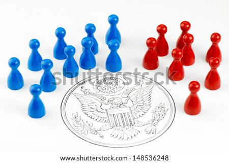 Game figures with Great Seal symbolizing the major political parties in the United States.