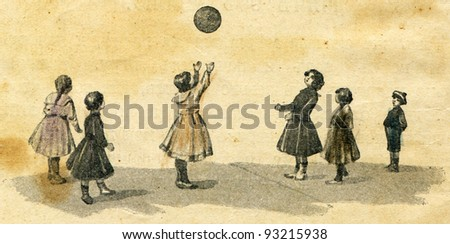 """game in a flying ball - illustration to the book by A.Kruglov, """"Games and fun for the kids,"""" publisher A. Stupin, Moscow, Russian Empire, 1917"""