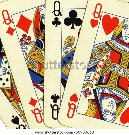 Game of cards with poker of queens