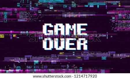 Game over fantastic computer background with glitch noise retro effect screen
