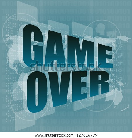 game over message on touch screen, raster - stock photo
