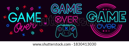 Game over signs. Computer video game death screen phrases, last life video gaming glitch, video game fail screen  illustration icons set. Game over text, final video gaming