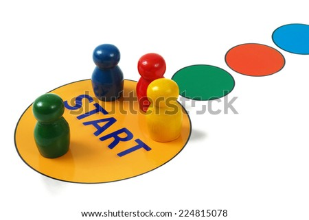 Game pegs on start field in game board