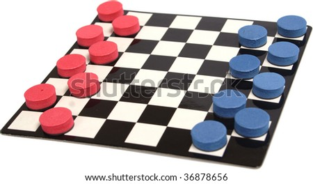 Game photo on a white background isolated. Checkers, objects over white.
