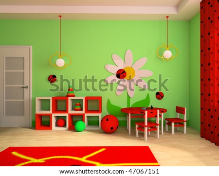 Game zone in a children s room 3d image stock photo