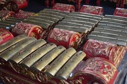Gamelan jawa. A set of Javanese gamelan musical instruments. Gamelan is traditional Javanese music. Javanese culture