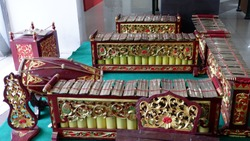 Gamelan jawa. The Gamelan music of Indonesia. A set of Javanese gamelan musical instruments.