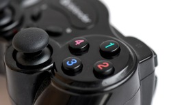 Gamepad wireless joystick buttons view. Wireless gamepad buttons close view. Gamepad buttons macro