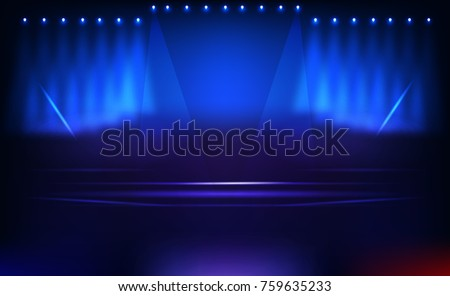 gamer stage design between blue and red team background