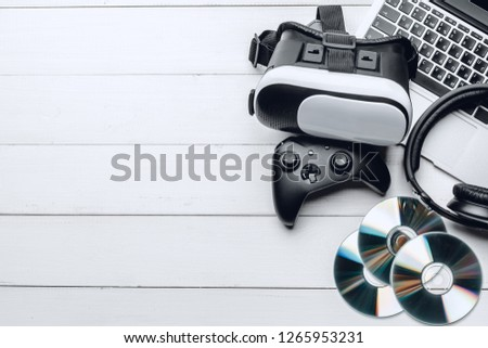 gamer workspace concept, top view #1265953231