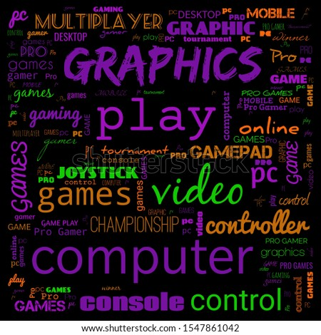 games word cloud, this word cloud use for banner, painting, motivation, web-page, website background, t-shirt & shirt printing, poster, gritting, wallpaper (illustration)