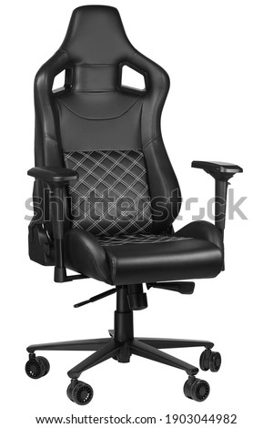 Gaming chair for gamers isolated on white background. Computer gaming chair. Half turn view. Armchair for gaming entertainment. E-sport, tournament, championship Photo stock ©