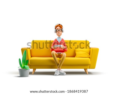 Gaming concept. Nerd Larry playing video games while sitting in sofa . 3d illustration.