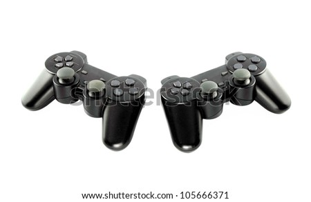 gaming console on white background with clipping path