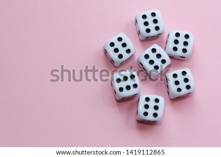 Gaming dices on pink background. #1419112865