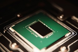 Gaming microprocessor with heatsink removed. Modern computer integrated electronics. Macro Shot of powerful chip. GPU core die no logo