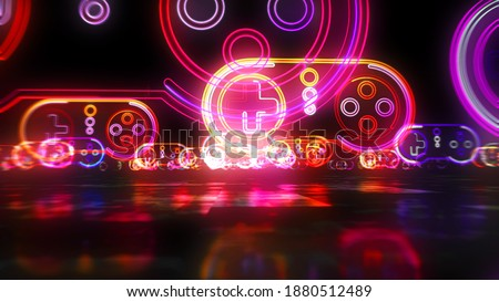 Gaming pad symbol, esport, video controller, 5g game and cyber sport. Futuristic abstract concept 3d rendering illustration.