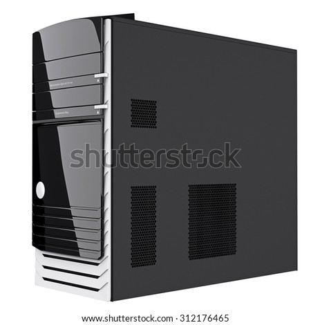 Gaming PC case with ventilation holes on black steel side panel. 3d graphic object on white background isolated #312176465