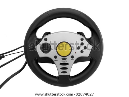 gaming steering wheel isolated