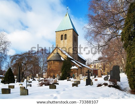 Gamle Aker Kirke - The oldest Church in Oslo, Norway - stock photo