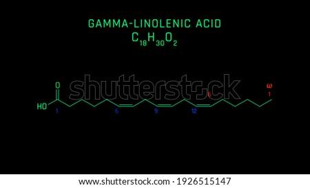 GammaLinolenic Acid or GLA Molecular Structure Symbol Neon on black background Photo stock ©