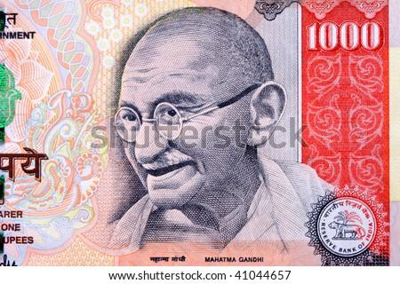 Rupee Note Vector Gandhi on 1000 Rupee Note