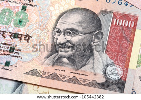 Gandhi on thousand rupee note