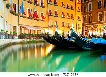 Gandolas at the canals of Venice, Italy