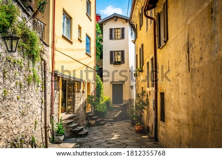 Gandria village scenic laneway with colorful houses and dramatic light in Gandria Lugano Switzerland Photo stock ©