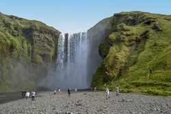 Ganeral view of the Seljalandsfoss falls, Iceland