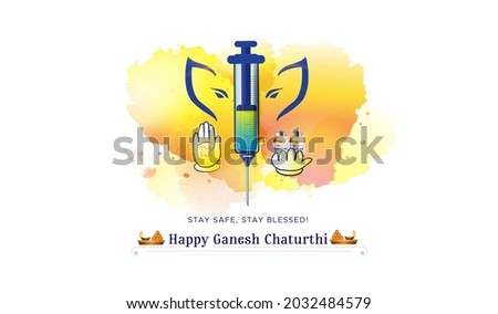 Ganesh Chaturthi festival concept with corona covid 19 vaccine syringe injection and mask