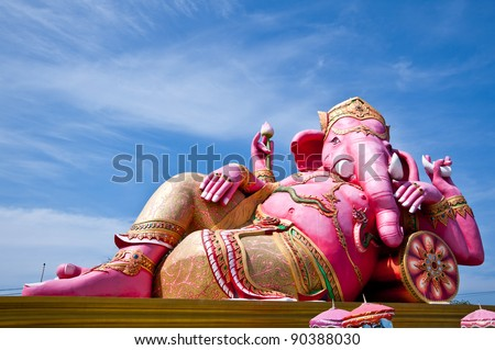 ganesh statue and nice blue sky