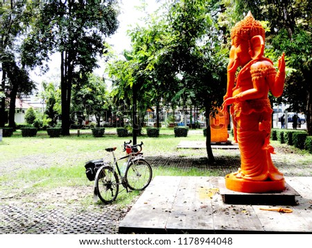 Ganesha lord of success and touring bike,culture city tour,candle festival,Ubonratchatani,Thailand #1178944048