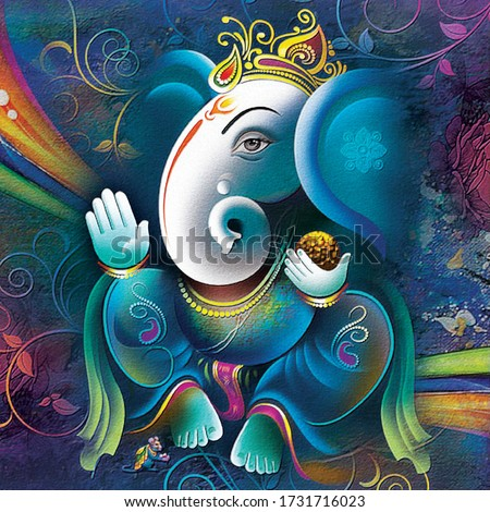 Ganesha painting, UV Wall Art Painting or Wallpaper for Living room and Bedroom. Lord Ganesha Painting on abstract decorative background For Home Decoration, Beautiful poster of Lord Ganesha (Artwork)