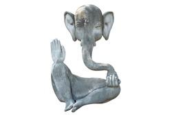 Ganesha stone art statue isolated on white background