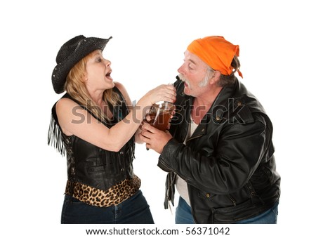 Gang member couple wrestling over a beer bottle