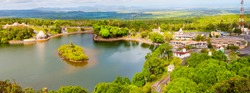Ganga Talao also known as Grand Bassin crater lake on Mauritius. It is considered the most sacred Hindu place. There is a temple dedicated to Lord Shiva, Lord Hanuman, Goddess Lakshmi and others Gods.
