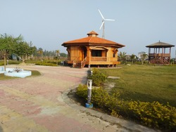 Gangasagar cottage by CM West Bengal for stay wooden exterior and fully furnished interior