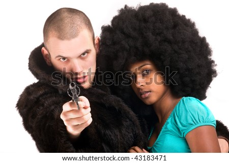 gangster duo - stock photo