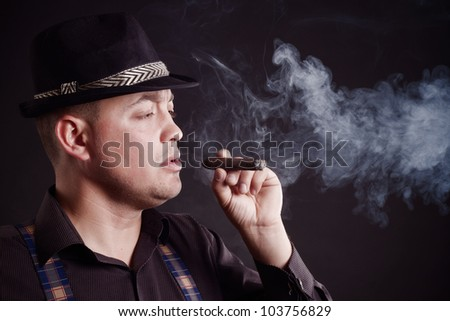 gangster  in a business style with a cigar