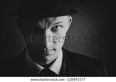 Gangster view.Vintage retro style portrait
